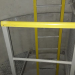 Composite ladder with railings