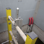 Detail of composite ladder with fall arrest system