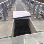 Prague circuit highway - Vestec - bridge gap cover - assembled gratings PREFAPOR and its ending with FRP covers