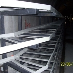 Utility tunnel in downtown Ostrava - FRP support beds with segmented cable runs