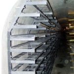 Utility tunnel in downtown Ostrava - FRP pylon with support beds and cable runs