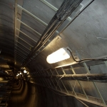Utility tunnel in downtown Prague - ceiling cable bridges