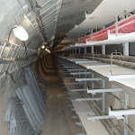 Utility tunnel in downtown Prague - cable bridges