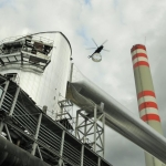 Power station Opatovice - mounting of chimney extension assembly