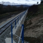 Railway upgrading Púchov-Žilina - composite railings wit horizontal stainless steel cable