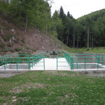 Composite railings colored green due to customer wish