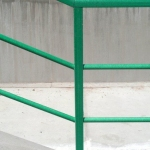 Joint of a horizontal and sloping railings in custom color