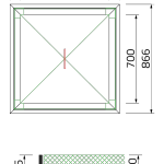Walk-over cover with Y profile frame for concrete mounting