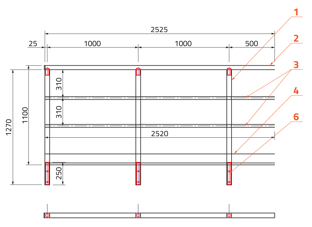 Railing with double horizontal bars, kick-plate, side anchored