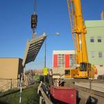 SAKO Brno - montáž kompozitního schodišťového ramene
