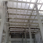 Elektrárna Počerady - příprava pro osazení kompozitních lávek - pohled zespodu