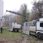 Vodní zdroj Sihoť Bratislava - manipulace s předvyrobenými kompozitními konstrukcemi plošin