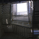 Víceramenné kompozitní schodiště - spodní pohled - ČOV Budapešť