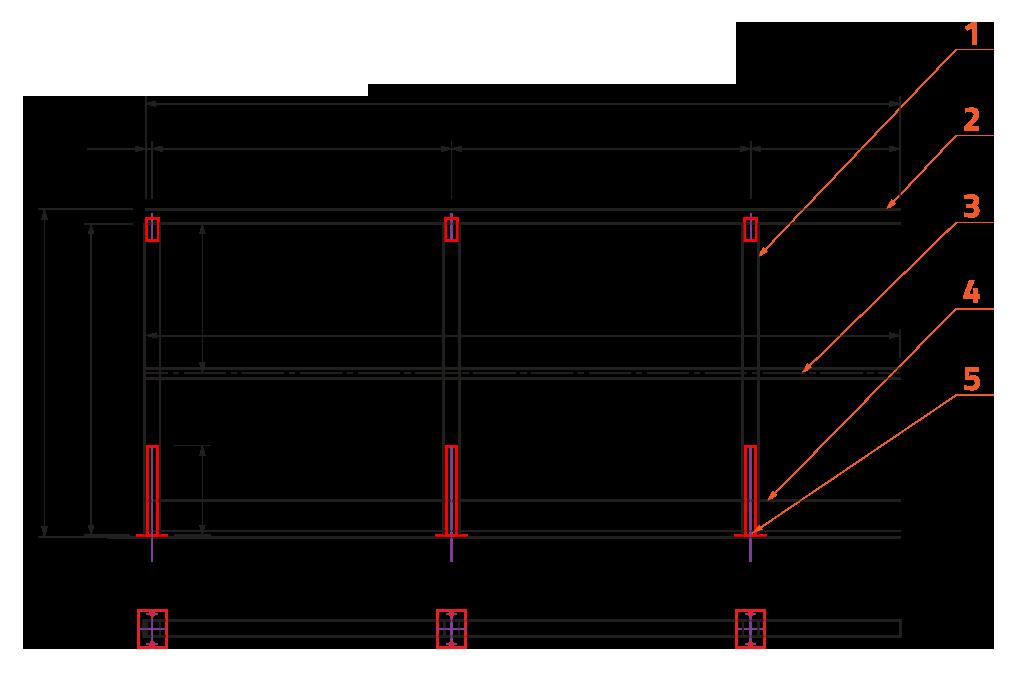 Zábradlí s jednou vodorovnou výplní, zarážkou a kotvením shora