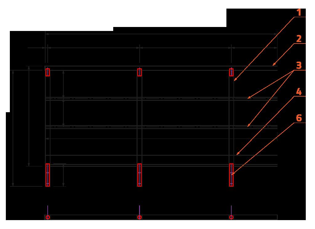 Zábradlí se dvěmi vodorovnými výplněmi, zarážkou a kotvením z boku